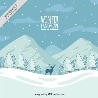 Fondo de paisaje nevado con pinos y montañas dibujadas a mano