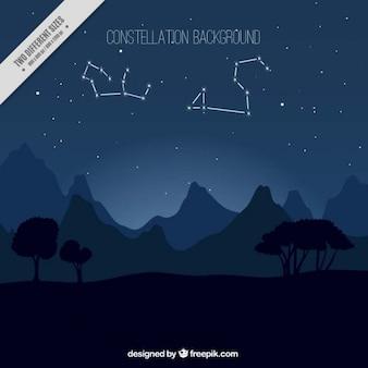 Fondo de paisaje nocturno con constelaciones