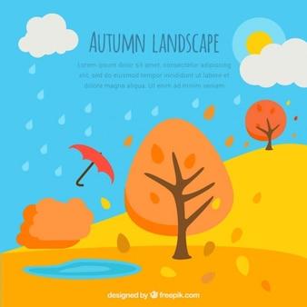 Fondo de paisaje otoñal con árboles y paraguas