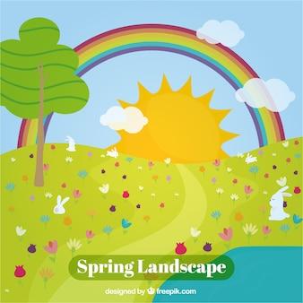 Fondo de paisaje soleado con arcoiris