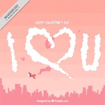 Fondo de paisaje urbano con avioneta y mensaje de amor