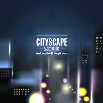 Fondo de paisaje urbano nocturno con luces