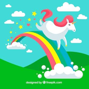 Fondo de paisaje y unicornio corriendo en el arcoiris