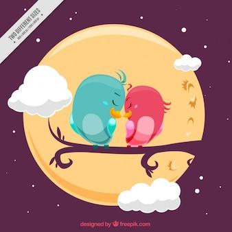 Fondo de pájaros enamorados bonitos y luna llena