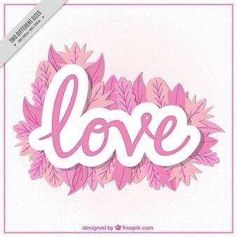 Fondo de palabra  amor  con hojas rosas
