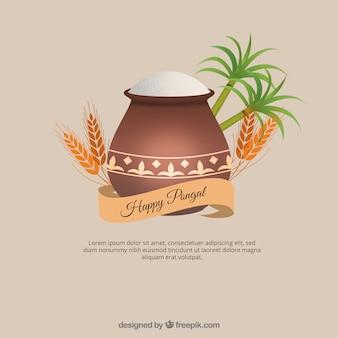 Fondo de palmeras, trigo y olla con arroz
