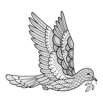 Fondo de paloma dibujada a mano