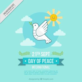 Fondo de paloma en el cielo para el día de la paz