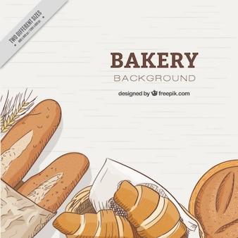 Fondo de panes dibujados a mano