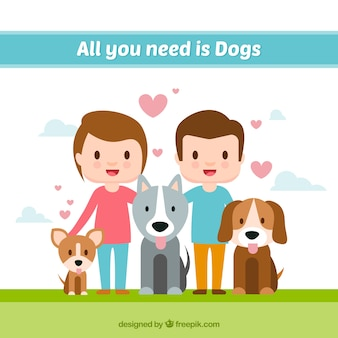 Fondo de pareja con simpáticas mascotas