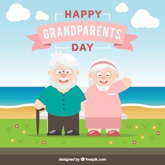 Fondo de pareja de abuelos en un bonito paisaje