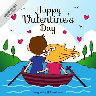 Fondo de pareja feliz en una barca dibujada a mano