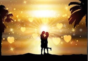Fondo de pareja romántica a contraluz