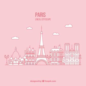 Fondo de parís dibujado a mano en color rosa