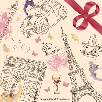 Fondo de París dibujado a mano