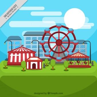 Fondo de parque de atracciones en diseño plano