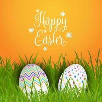 Fondo de Pascua con huevos en la hierba