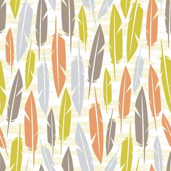 Fondo de patrón de plumas de colores sin fisuras