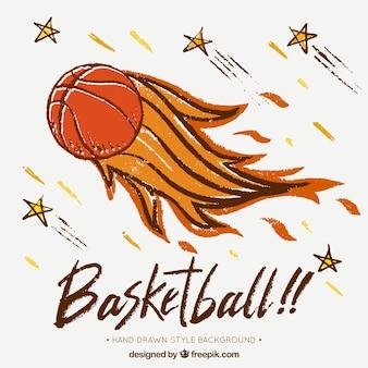 Fondo de pelota de baloncesto en llamas dibujada a mano