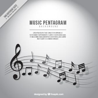 Fondo de pentagrama con notas musicales en tonos grises