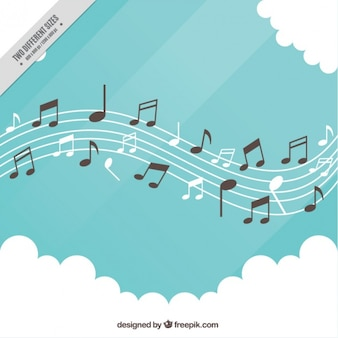 Fondo de pentagrama con notas y nubes