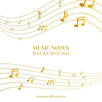 Fondo de pentagrama dorado con notas musicales