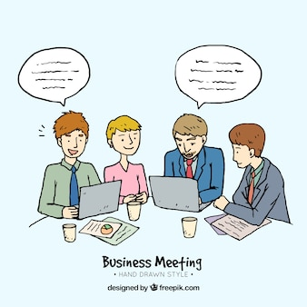 Fondo de personajes en una reunión de negocios dibujados a mano