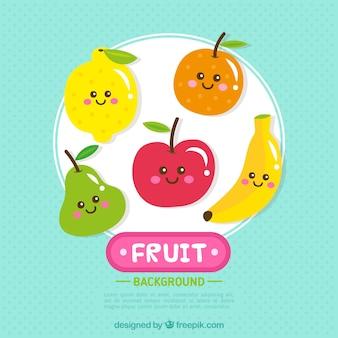 Fondo de personajes simpáticos de frutas