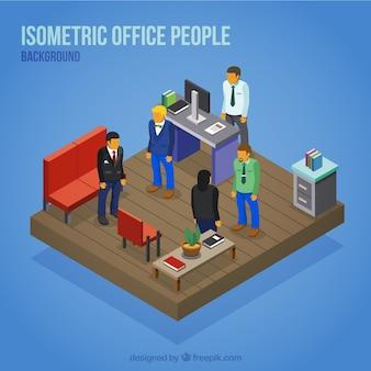 Fondo de personas en la oficina en perspectiva isométrica