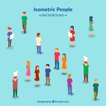 Fondo de personas en perspectiva isométrica