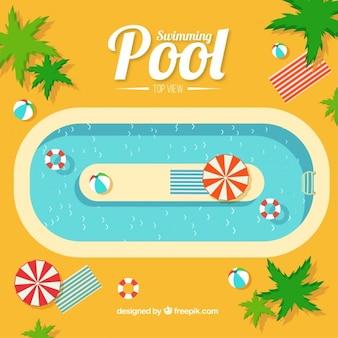 Fondo de piscina con palmeras