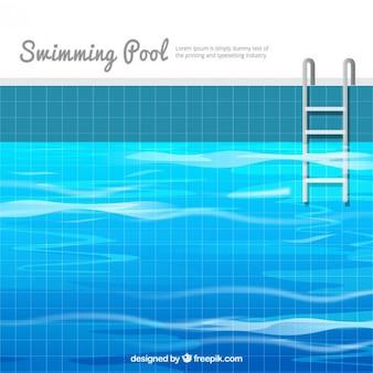 Fondo de piscina en diseño plano