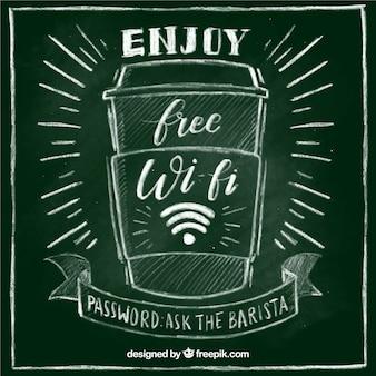 Fondo de pizarra con bebida y señal wifi