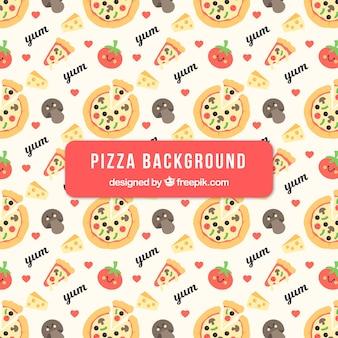Fondo de pizzas e ingredientes