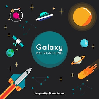 Fondo de planetas con cohete en diseño plano