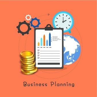 Fondo de planificación de negocios con portapapeles y monedas