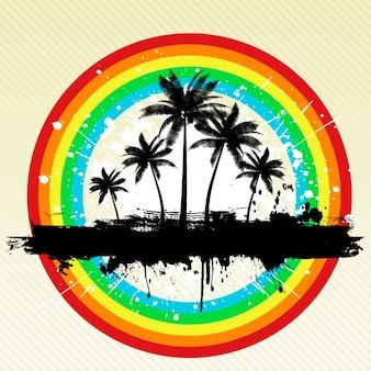Fondo de playa con arco iris