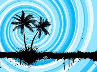 Fondo de playa con palmeras