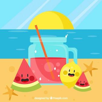Fondo de playa con zumo y simpáticas frutas