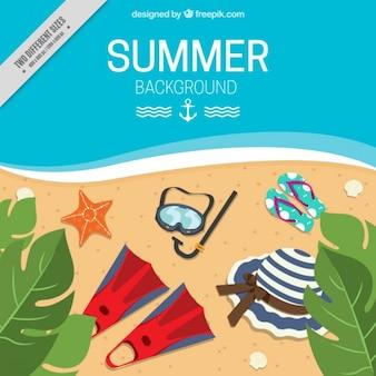 Fondo de playa en una vista superior con objetos de verano