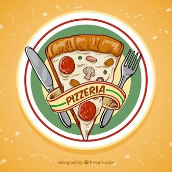 Fondo de porción de pizza dibujado a mano
