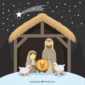 Fondo de portal de belén con adorables ovejas y estrella fugaz