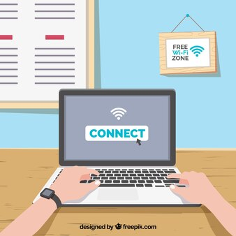 Fondo de portátil conectado a internet