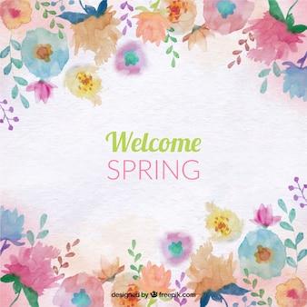 Fondo de primavera con flores de colores de acuarela