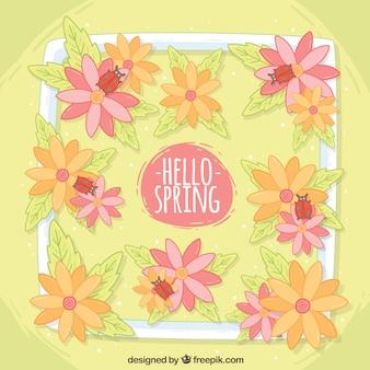 Fondo de primavera con flores y mariquitas
