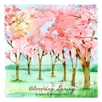 Fondo de primavera floreciente en estilo de acuarela