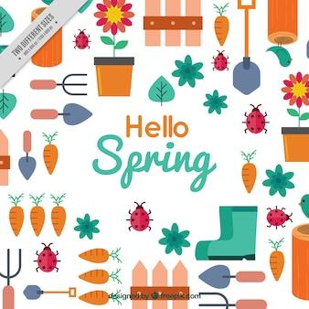 Fondo de primavera plano con artículos de jardinería
