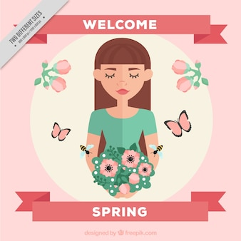 Fondo de primavera plano de mujer sujetando flores