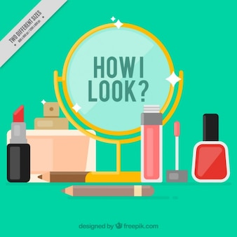 Fondo de productos de belleza con espejo brillante