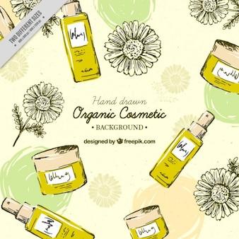 Fondo de productos de belleza de miel dibujados a mano